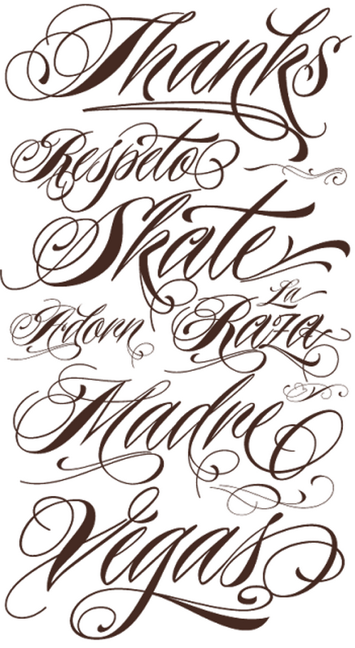 tattoo script writing fonts images