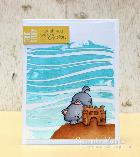 Kitty Beach Card by Samantha Mann for Newton's Nook Designs | Newton's Summer Vacation Cat Stamp Set