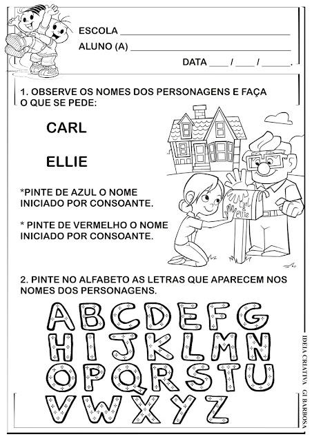 Atividade Educação Infantil Filme Up Altas Horas