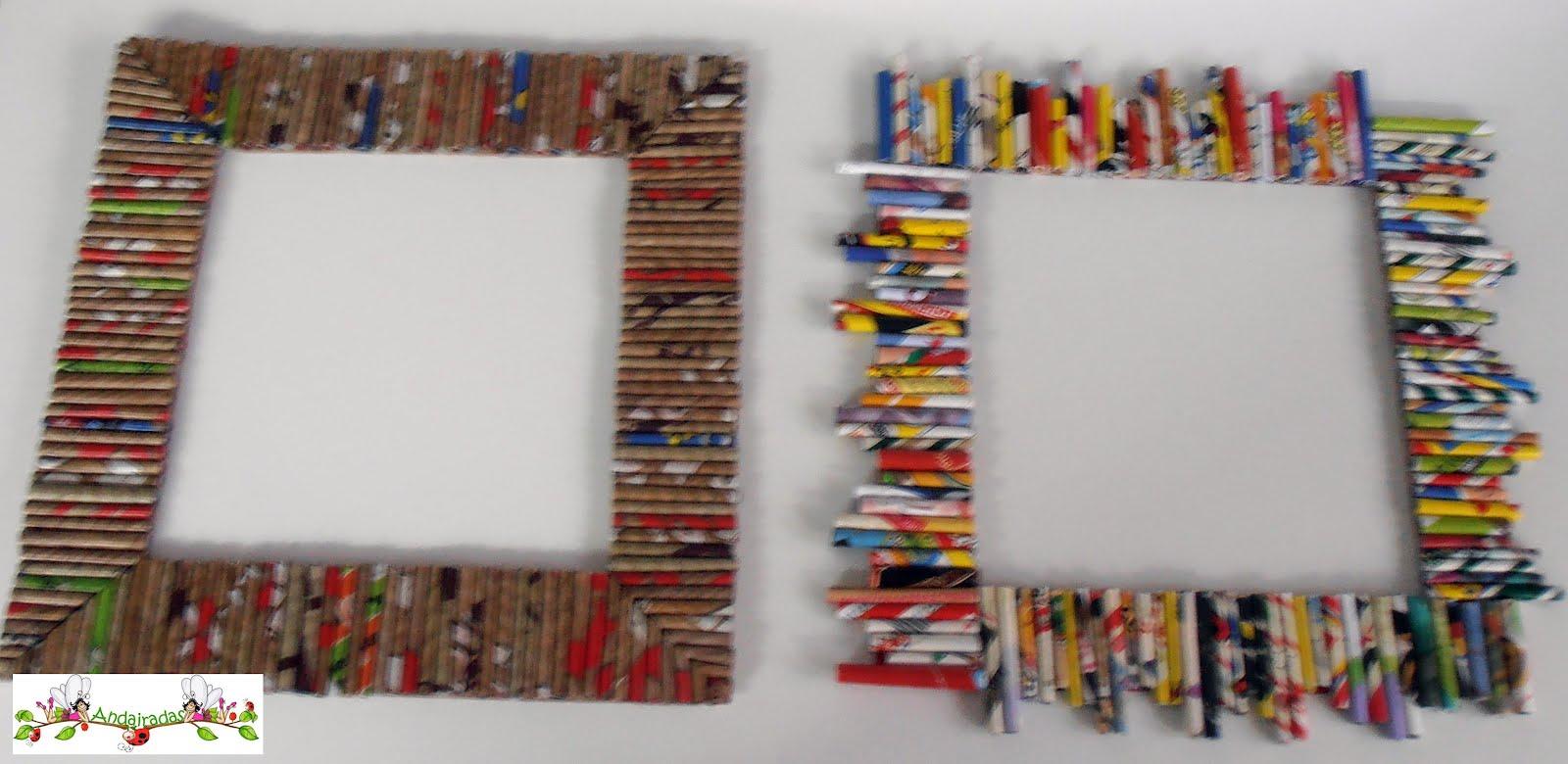 Andairadas marcos hechos con rollitos de papel - Como hacer marcos de fotos faciles ...