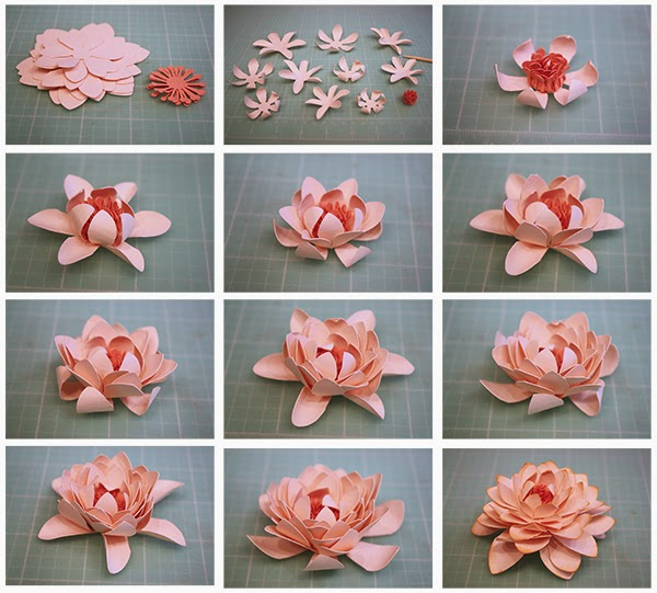 Bits of paper 3d paper flowers continued 2 curl the petals with your skewerpencil and adhere the centers together pulling up the points 3 adhere the center into the smallest flower form mightylinksfo