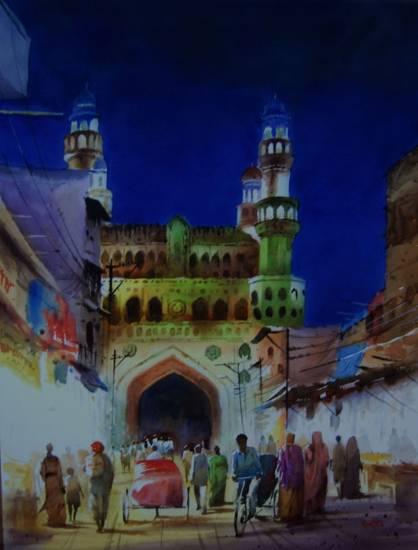 Chudi Bazar, Charminar, watercolour painting by Kishor Nadavdekar ( part of his portfolio on www.indiaart.com )