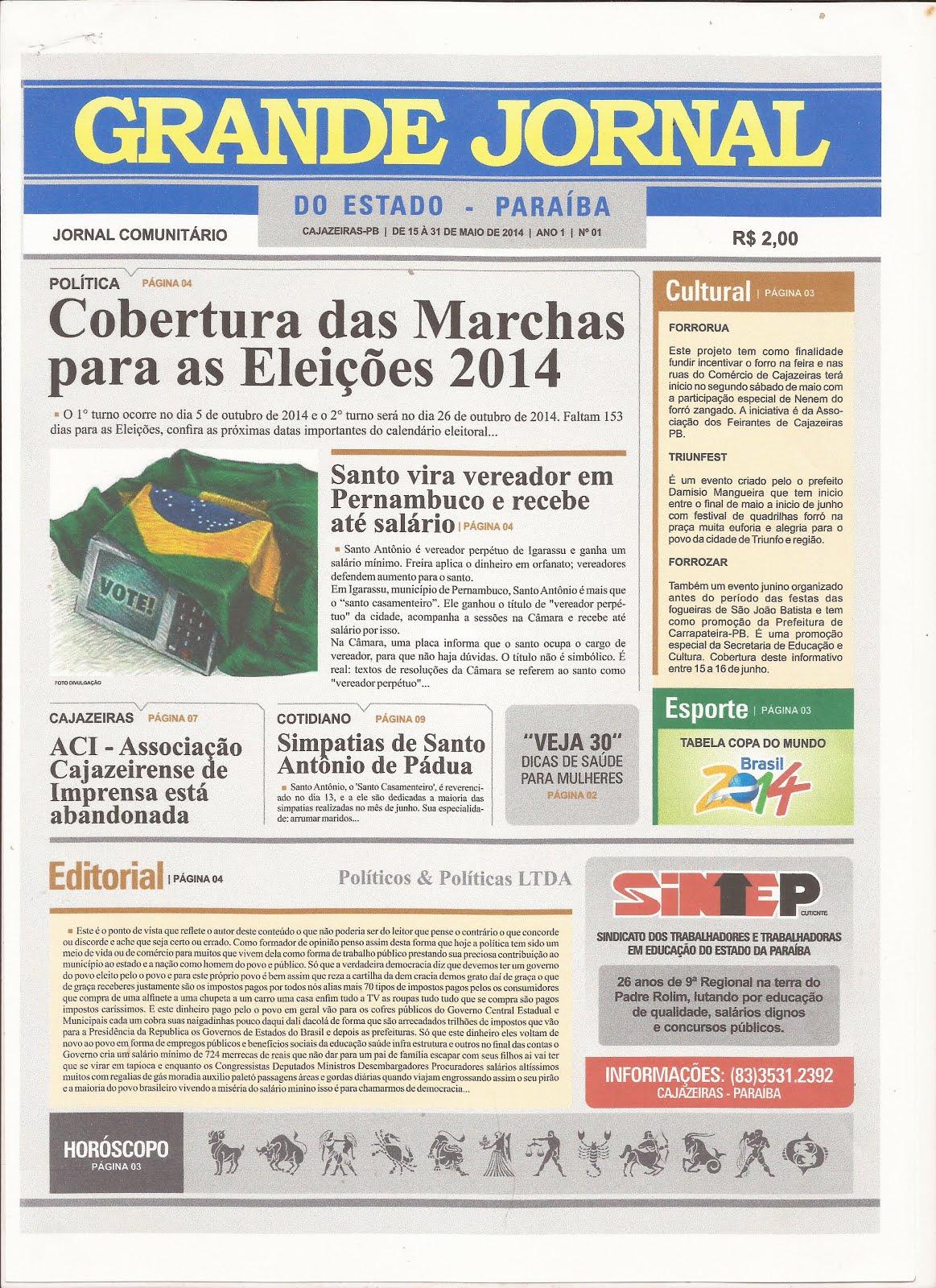 GRANDE JORNAL  DO ESTADO PB   PÁGINAS DE ARQUIVOS  EDIÇÕES ANTERIORES COBERTURA  DAS ELEIÇÕES
