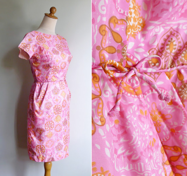 vintage 50's 60's pink wiggle party dress