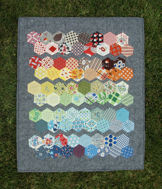 Denyse Schmidt scrappy rainbow hexagon mini quilt