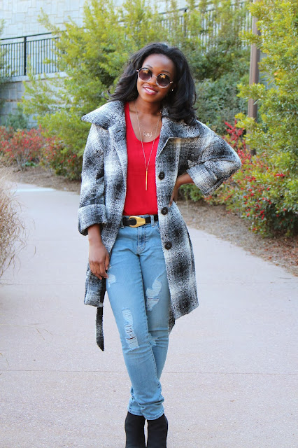 Ripped Denim and Tartan Coat Ashley Udoh
