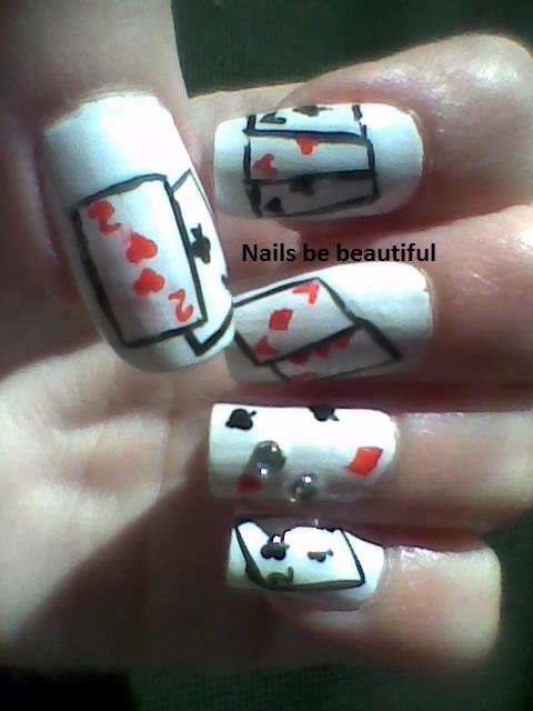 Poker card nails