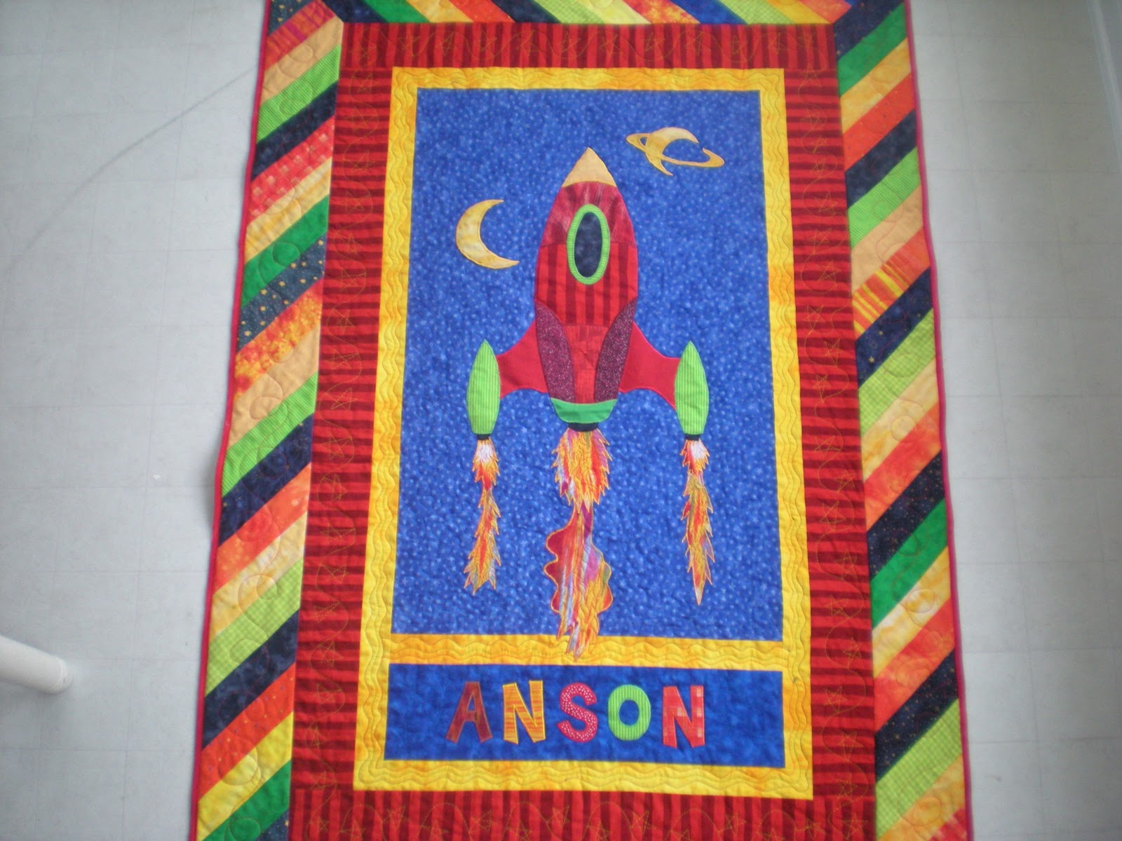 The school of good enough rocket ship quilt for anson for Spaceship quilt