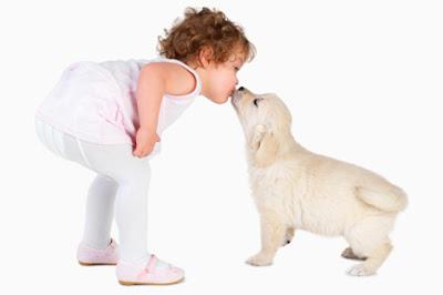 beautiful girl child kissing pet dog