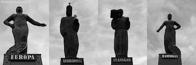Hamburg Speicherstadt Skulpturen, Europa, Barbarossa, St. Ansgar, Hammonia