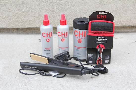 Chi for Dogs products including brush and shampoos