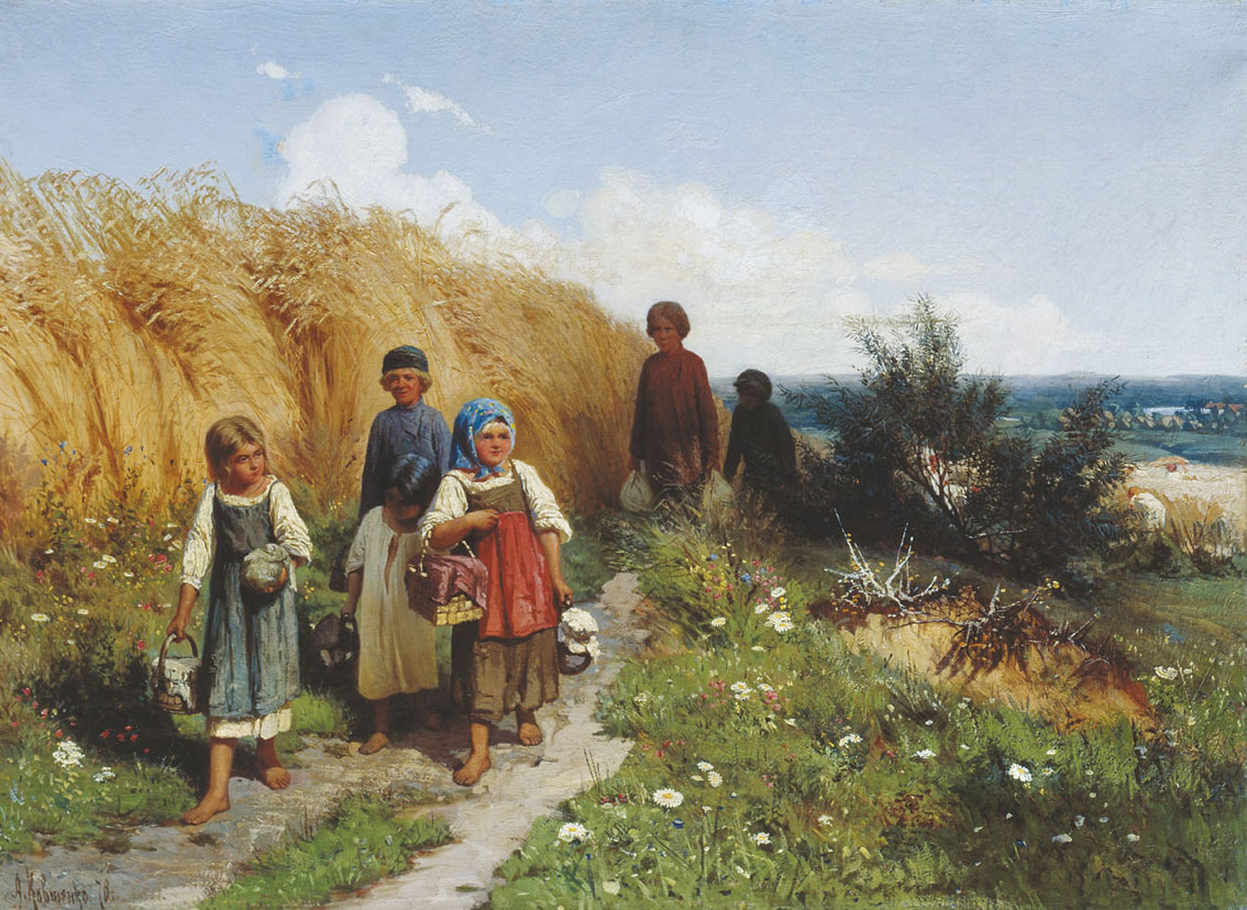 Peasant children in the field painting by a kivshenko 1878