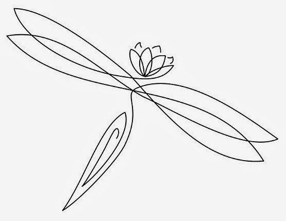 Dragonfly and lotus flower tattoo stencil