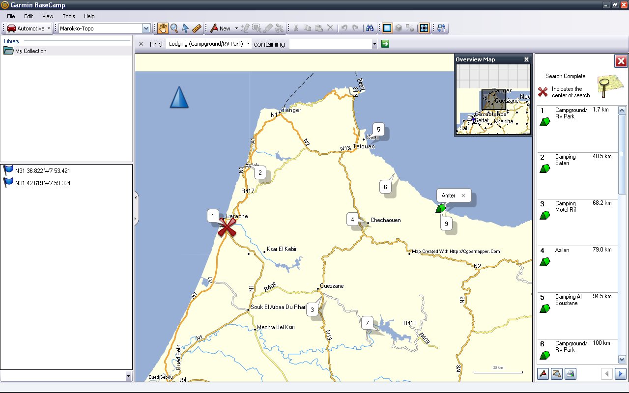 Morocco Laptop GPS Garmin nRoute Europe By Camper Travelling