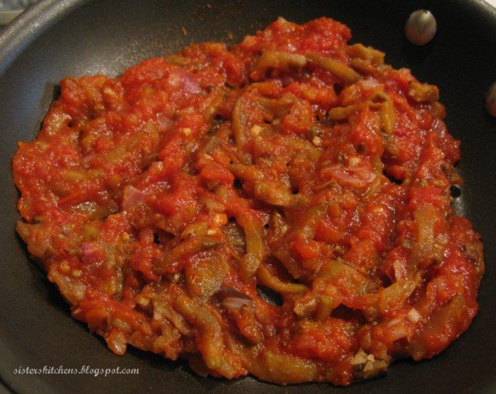 eggplant onions garlic crushed tomatoes