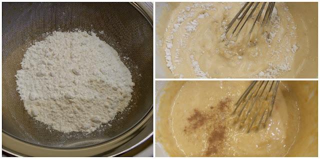 Tamizar harina, levadura, canela y sal