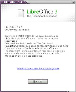 Imagen de LibreOffice en Debian Squeeze