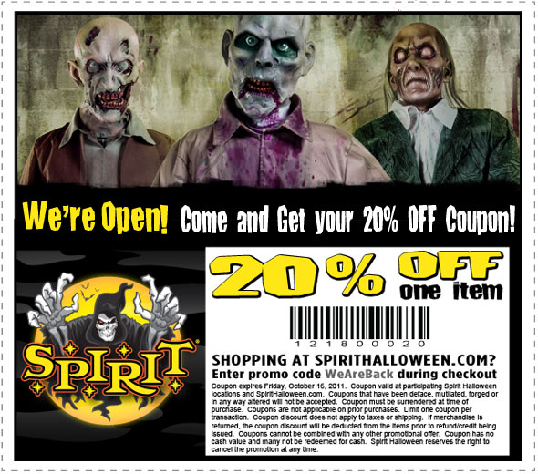 20% off Coupon to Spirit Halloween (Several Chesco locations)