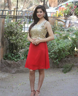 Shiba Bhardwaj at Press meet of Movie Soul Spicy Golden Top Red Skirt