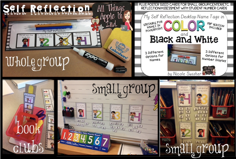 http://www.teacherspayteachers.com/Product/My-Self-Reflection-Desktop-Name-Tags-POSTERS-Color-BlackWhite-1326673
