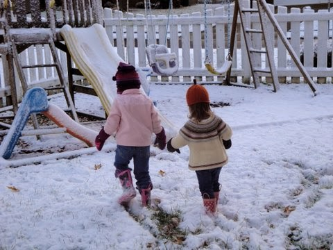 Snow Play for Two Little Girls