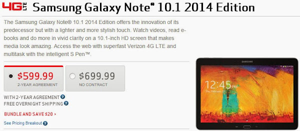 Samsung Galaxy Note 10.1 2014 now available at Verizon for $600