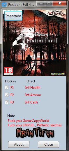 Resident Evil 4 HD Trainer +3 MrAntiFun
