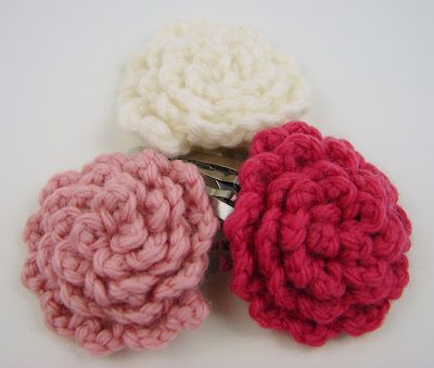 crochet, flowers, clips, hair, baby, girls, barrette, pink, hot pink, white