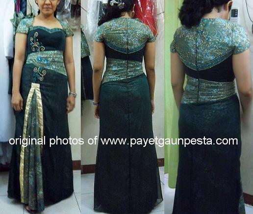 Baju Pesta Batik Modern Hijau Emas untuk sekeluarga