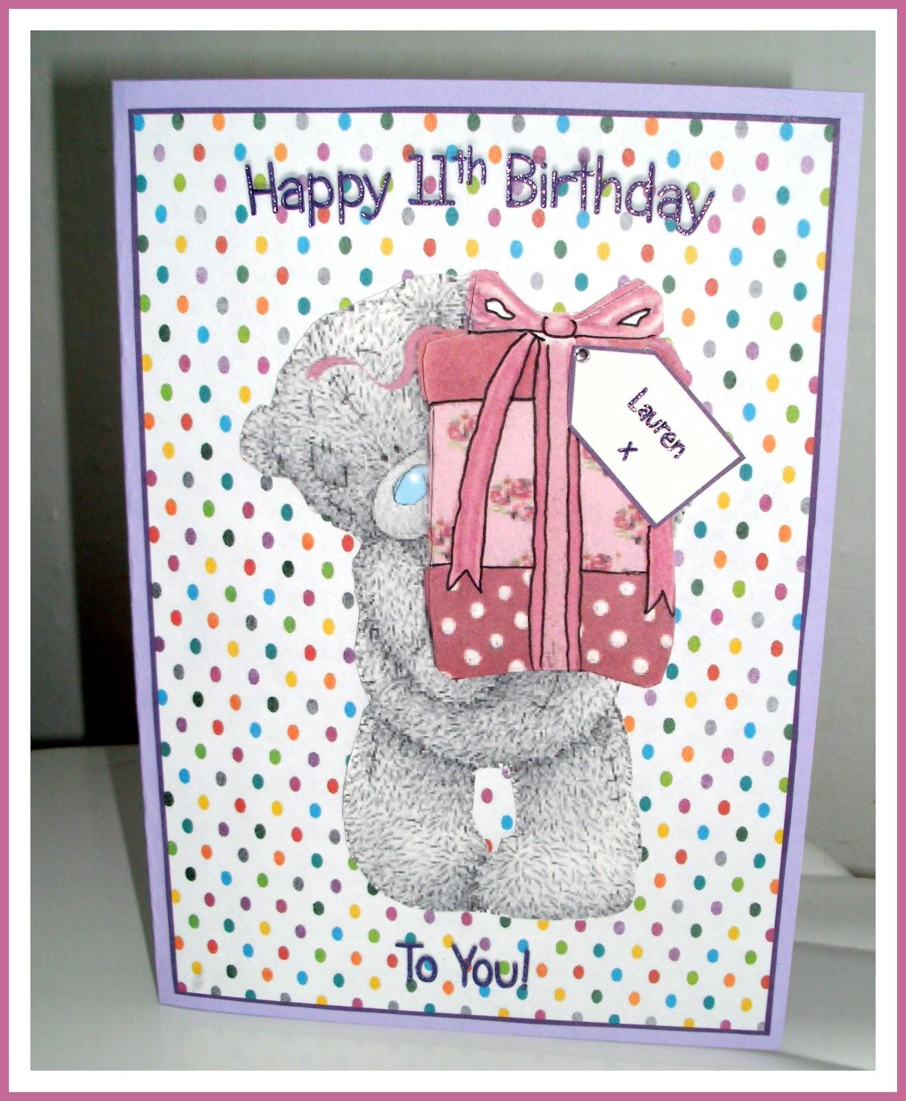 CardAdore Tatty Teddy 11th Birthday Card For Cousin