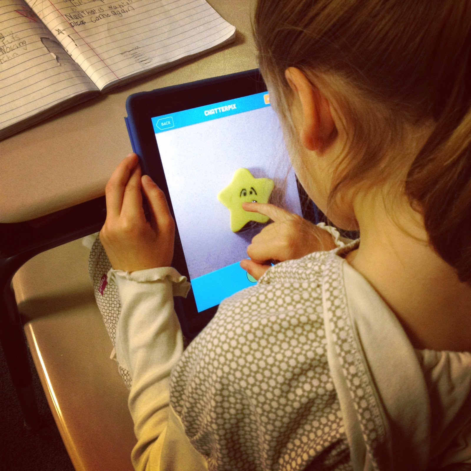student working on her ChatterPix video