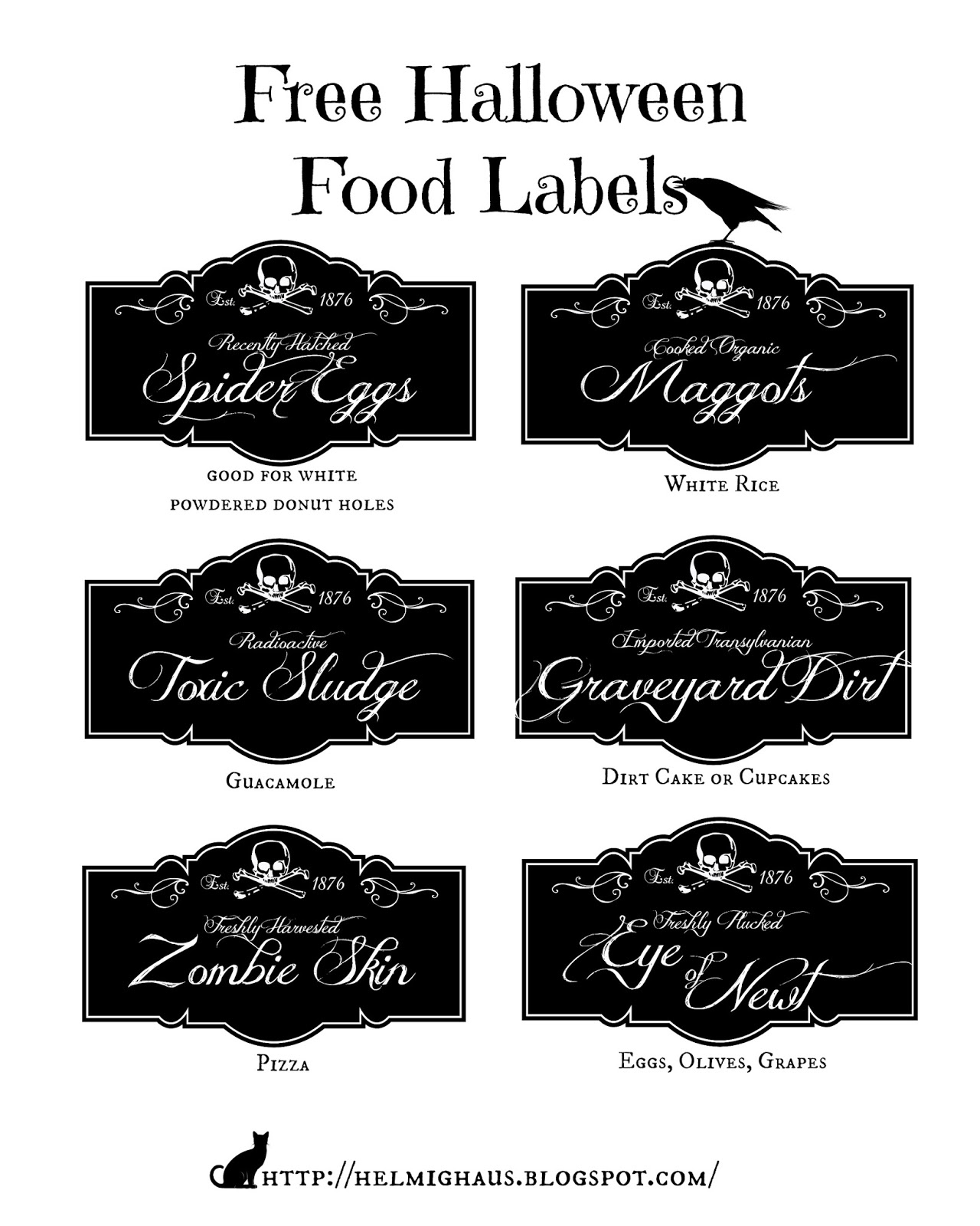 Free Halloween Food Labels via Helmig Haus   http://helmighaus.blogspot.com/