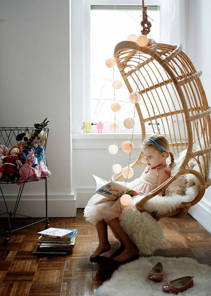 Attractive Hanging Chair In Kids Rooms