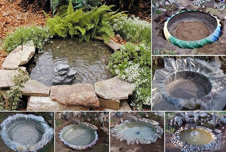 Fuentes de agua con neumaticos reciclados for Fuentes para jardin baratas