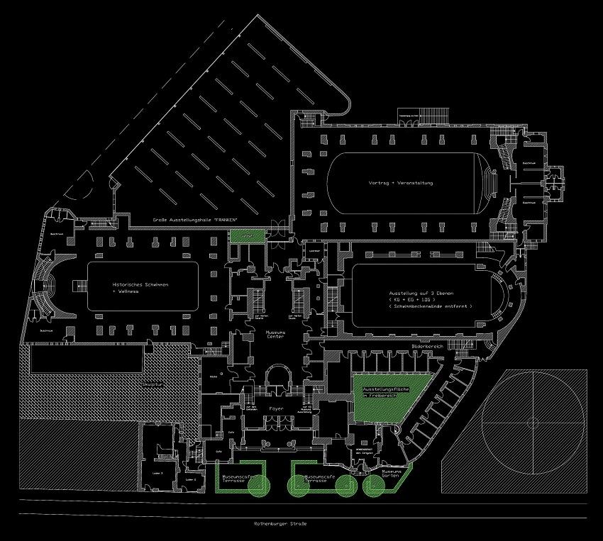 Erdgeschossgrundriss mit Freiflächen (Museumskonzeption mit Teilnassnutzung)