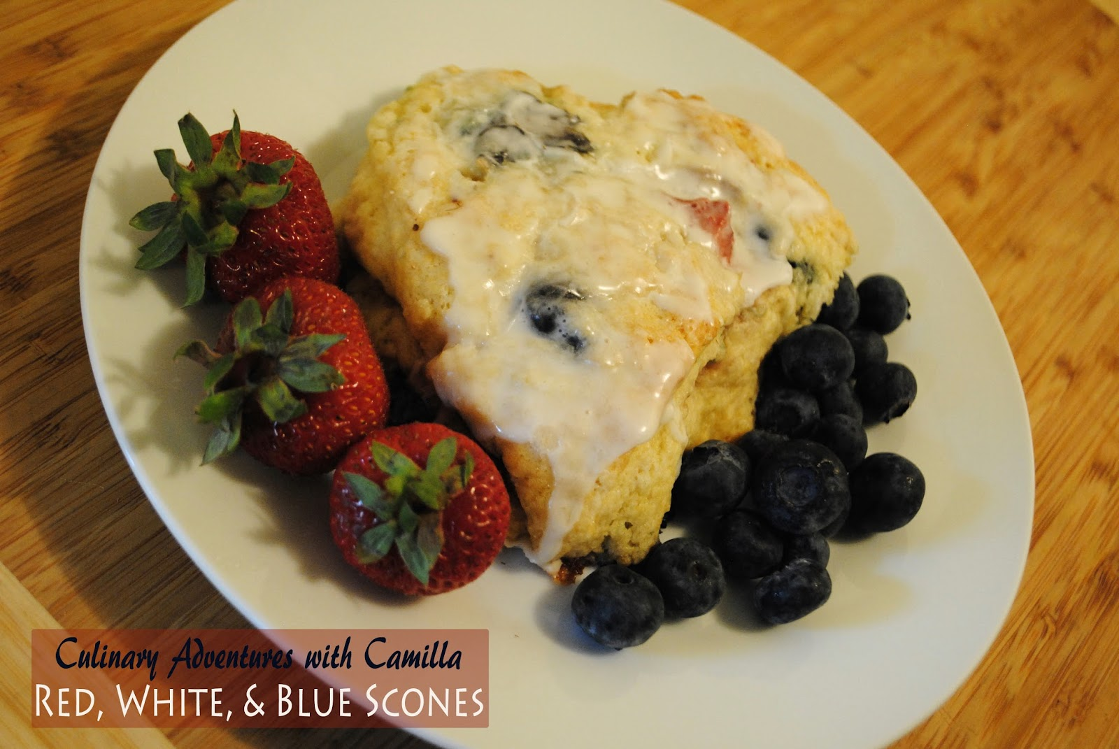 red, white & blue scones