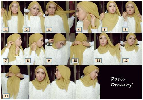 Cara pakai jilbab segi empat model baru cara pakai jilbab