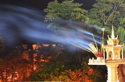Smoke. Wat Phnom, Lunar New Year, Phnom Penh, Cambodia