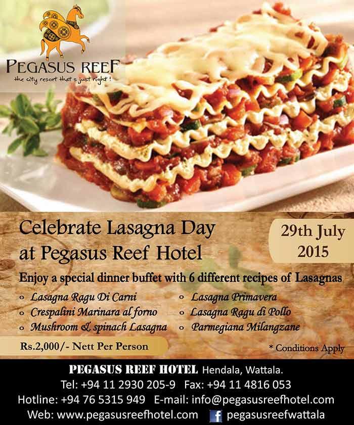 Celebrate Lasagna Day at Pegasus Reef Hotel - Wattala.