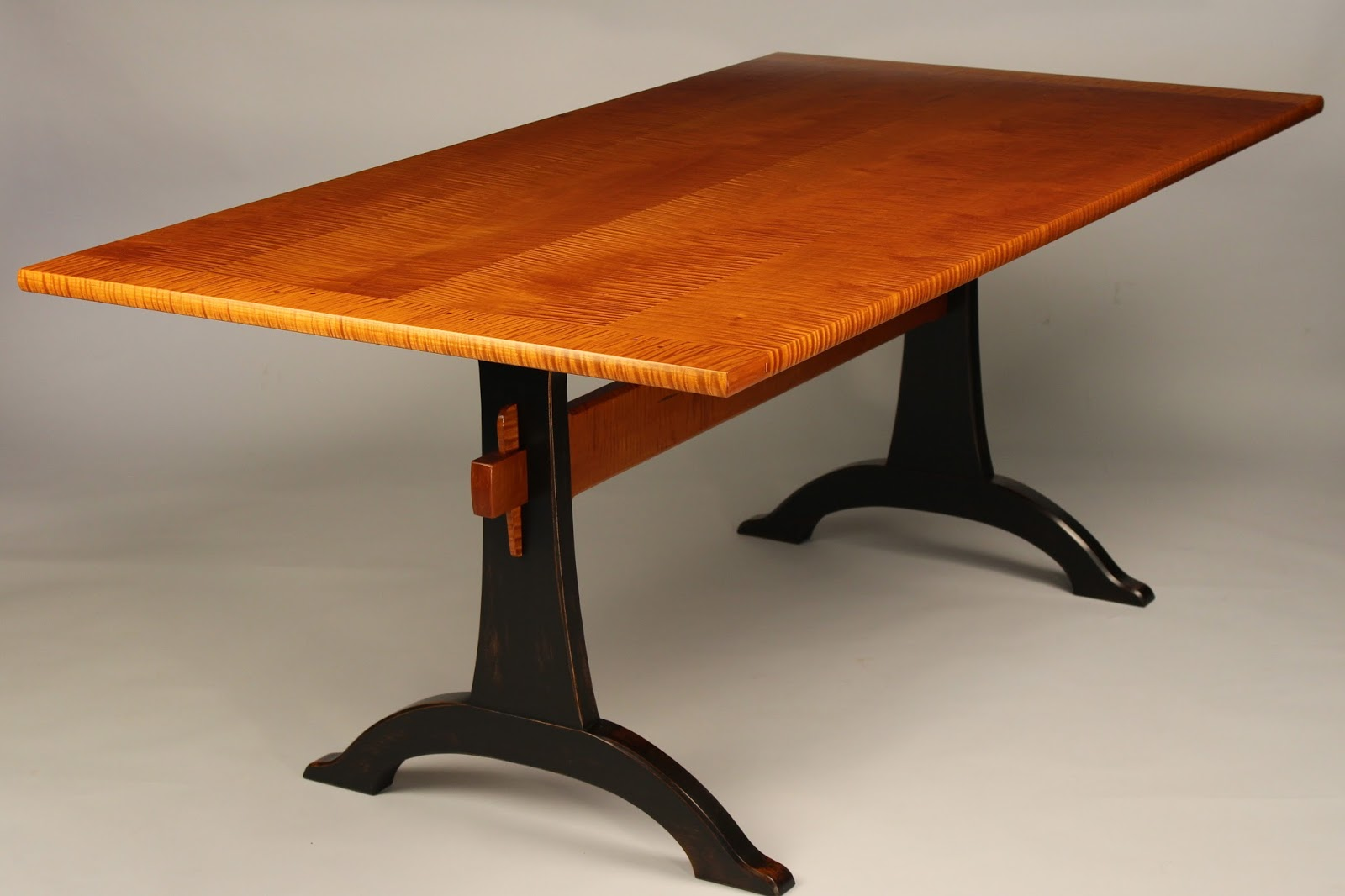 trestle table tiger maple cherry walnut mahogany curly maple