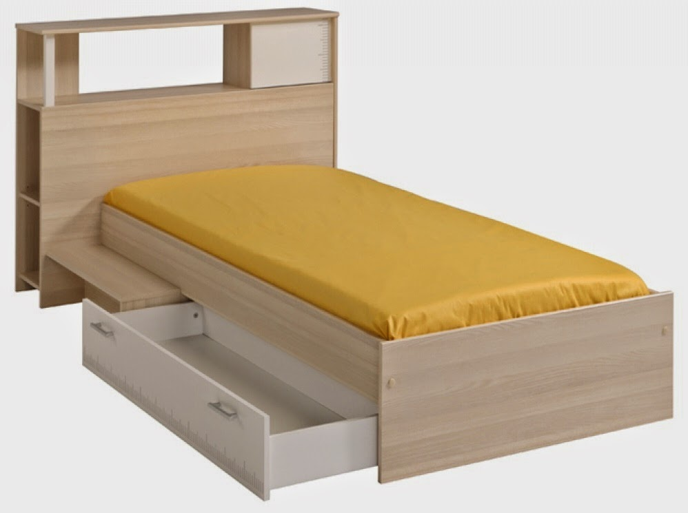 Single Bed with Headboard Storage and Underbed Drawers