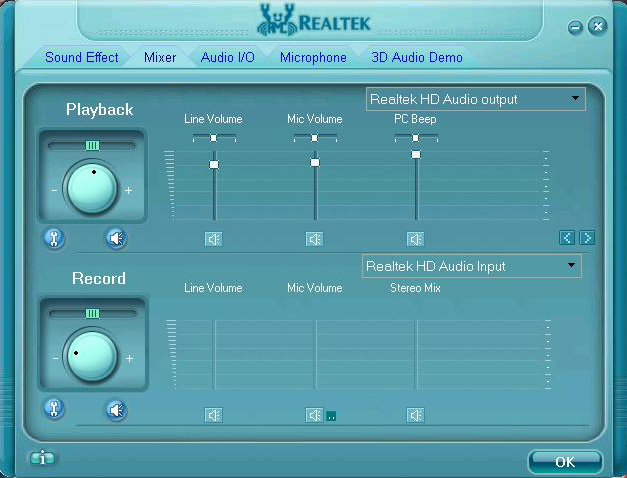 Setting Realtek Take Mic Windows XP