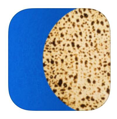 Matza on Blue background Free iTunes Passover App on iTunes can help ready a home for Passover linked to iTunes Store page
