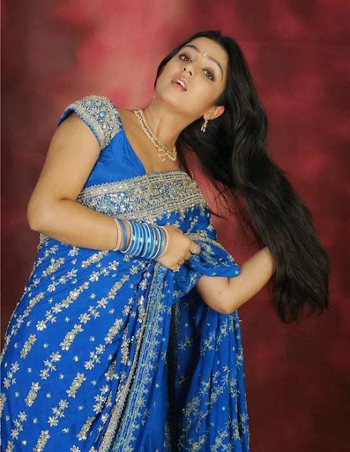 Charmi Kaurs In Blue Saree