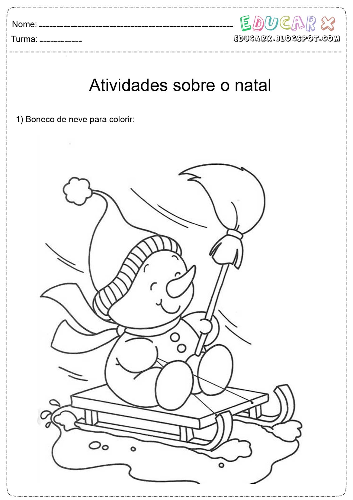 portal escola bonecos de neve de natal para colorir e imprimir