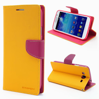 Mercury Goospery Fancy Diary Wallet Leather Cases for Samsung Galaxy Mega 5.8 I9150 I9152 - Yellow