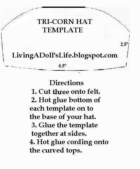 Living a doll 39 s life how to make felicity 39 s colonial tri for Colonial hat template