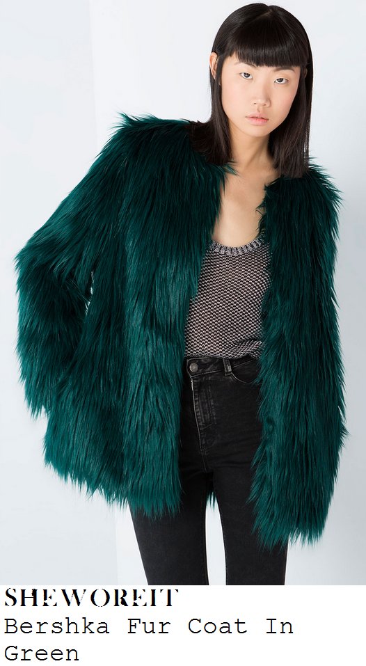 lauren-pope-dark-green-shaggy-faux-fur-coat-towie
