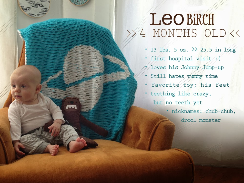 Baby boy milestones at 4 months old. via :: Oh, Hopscotch!