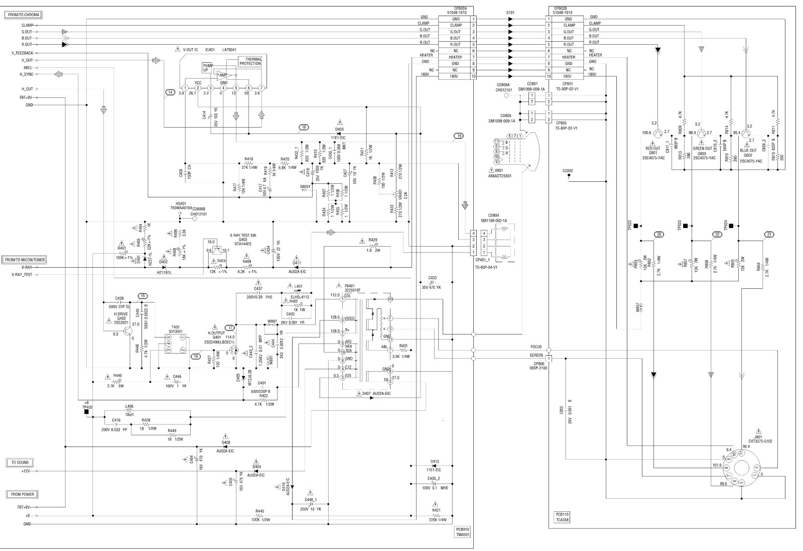 memorex mt2271 -  series-a  - schematic  circuit diagrams  - power - deflection - chroma